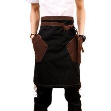 Unisex japoński fartuch talia fartuch Denim Barista Vintage pół fartuch fartuchy kuchenne mężczyźni fartuszek
