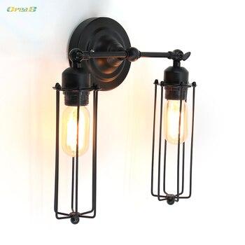2 luz Luzes de Parede Decorativo Preto Industrial Design Retro Do Vintage Gladiador Enjaulado Escada Lâmpada Passo Interior Forma E26/E27