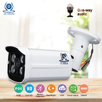 ZSVEDIO Surveillance Cameras POE CCTV Monitor Security Camera Alarm System Camera IP Security Camera System 1080p