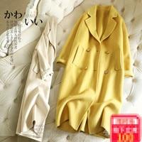 Модное двустороннее шерстяное пальто женское длинное двубортное зимнее кашемировое пальто