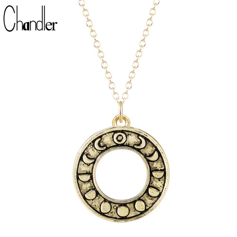 Antique Silver Gold Phases Of Moon Pendant Necklace Astrology Punk Charm Stainless Steel Invisible Chain Bib Chokers Jewelry