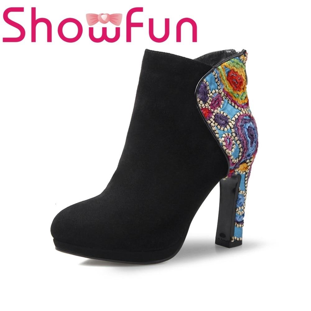 Showfun genuine leather shoes woman mixed colors super high heel boots showfun 2018 genuine leather retro faux