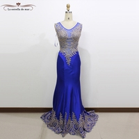 2018 new lace crystal sexy mermaid royal blue mint green burgundy turkish evening gowns real photo muslim evening dress