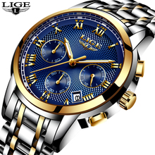 Relogio Masculino 2019 New Watches Men Luxury Brand LIGE Chronograph Men Sports Watches Waterproof Full Steel Quartz Mens Watch