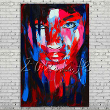 Palette knife portrait Face Oil painting Character figure canvas Hand painted Francoise Nielly wall Art picture 010