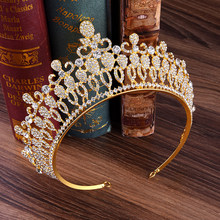 Fashion Big Hollow Crystal Wedding Diadem Rhinestone Queen Tiaras And Crowns Headbands For Bride Hair Jewelry Women Accessories(China)