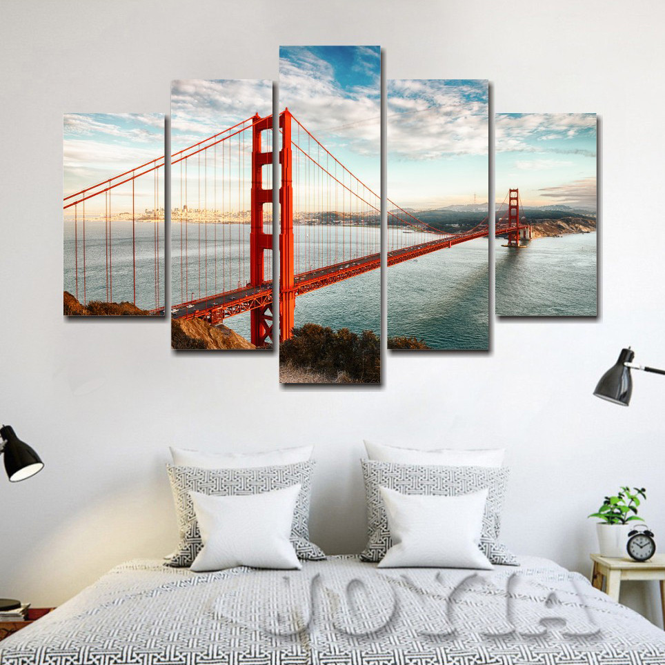 Leinwand Malerei California Sky Golden Gate Bridge Wandbild ...