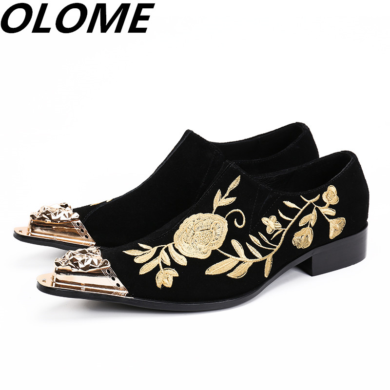 Red black wedding genuine leather shoes men elegant gold iron toe spiked loafers velvet slipper floral embroidery italian oxfordRed black wedding genuine leather shoes men elegant gold iron toe spiked loafers velvet slipper floral embroidery italian oxford