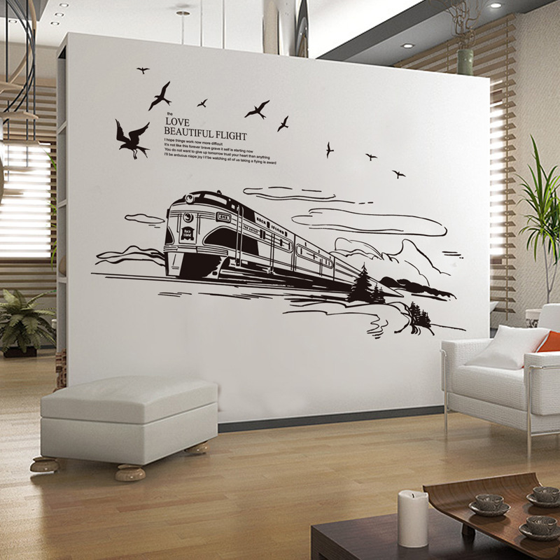 Beautiful travel train wall stickers Vinyl Wall decals for Living room Sofa background wall Office Decoration Art