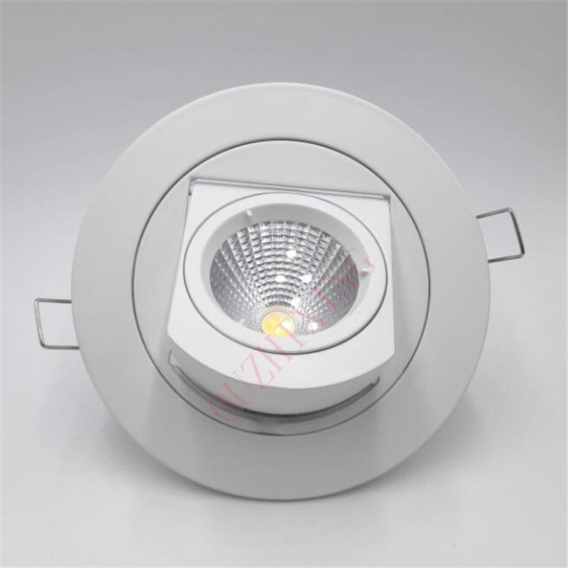 Free Shipping Adjustable 10W/15W Warm Cold White COB LED Gimbal Embedded led trunk lamp Round COB shoplighter AC85-265V
