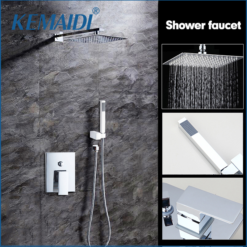 KEMAIDI High Quality Bathroom Wall Mounted 8 Rain Shower Head Valve Mixer Tap W/ Hand Shower Rainfall Shower Mixer Faucet Set