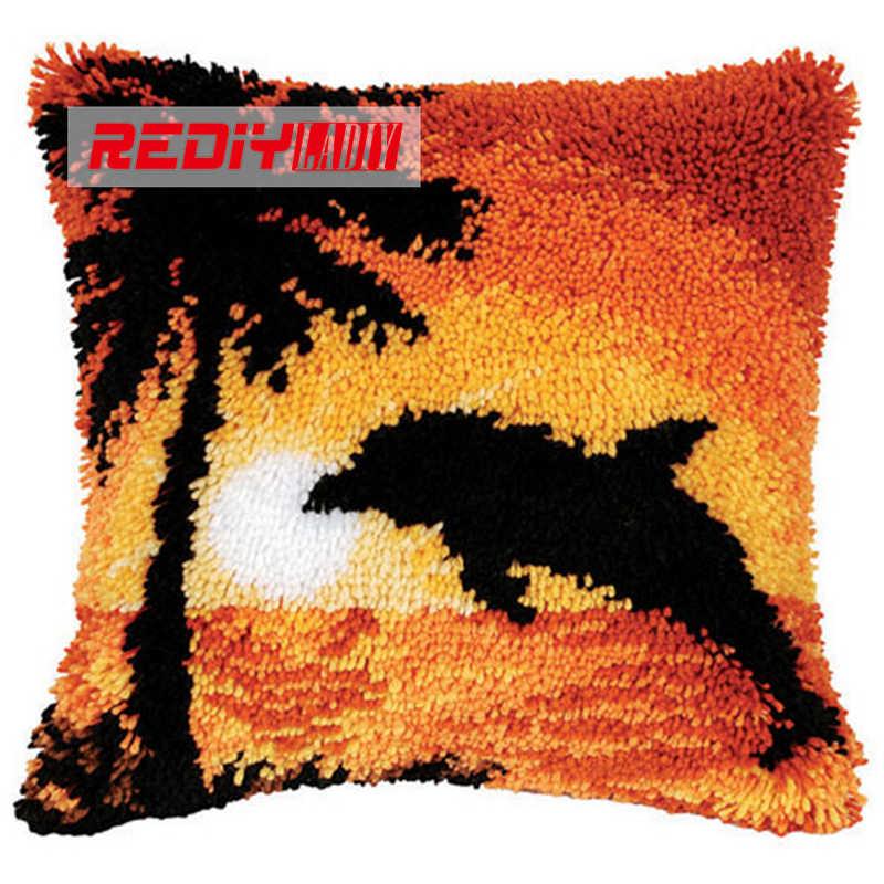LADIY прерываний фиксатора Набор подушек пряжи для чехол для подушки с вышивкой Dolphin Sunset наволочки для диванной подушки декоративные Чехлы для подушек BZ448