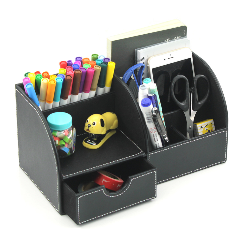 6 Blocks Holder PU Leather Office Desk Organizer Stationery Storage Box Office Stationary Set School Supplies cute cat pen holders multifunctional storage wooden cosmetic storage box memo box penholder gift office organizer school supplie
