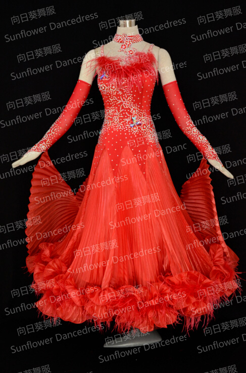 RED Feather Ballroom Standard Dance Dress,Waltz Competition Dress,Women,standard Dance Dress,Ballroom Dance Dress,SunflowerDress