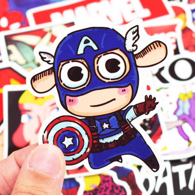Image 4 - 50Pcs Superhero Computer Sticker Classic Anime Style Graffiti Stickers For Moto Car & Suitcase Cool Laptop Stickers Skin Decal-in Laptop Skins from Computer & Office