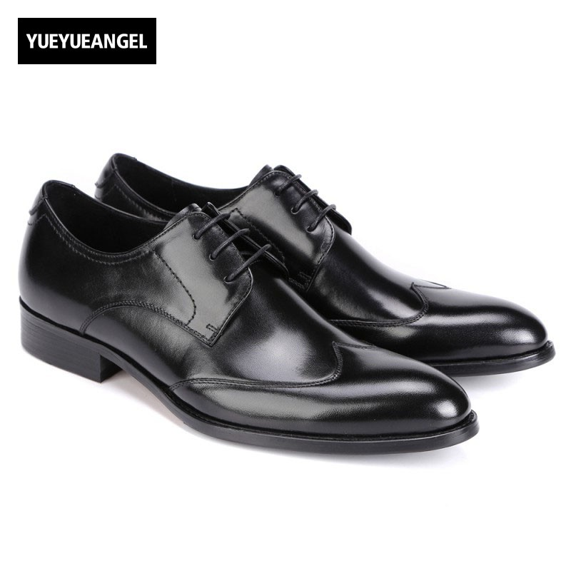 2017 New Fashion Autumn Lace Up Pointed Toe Genuine Leather Formal Shoes Men Footwear Male Heren Schoenen Top Quality Plus Size