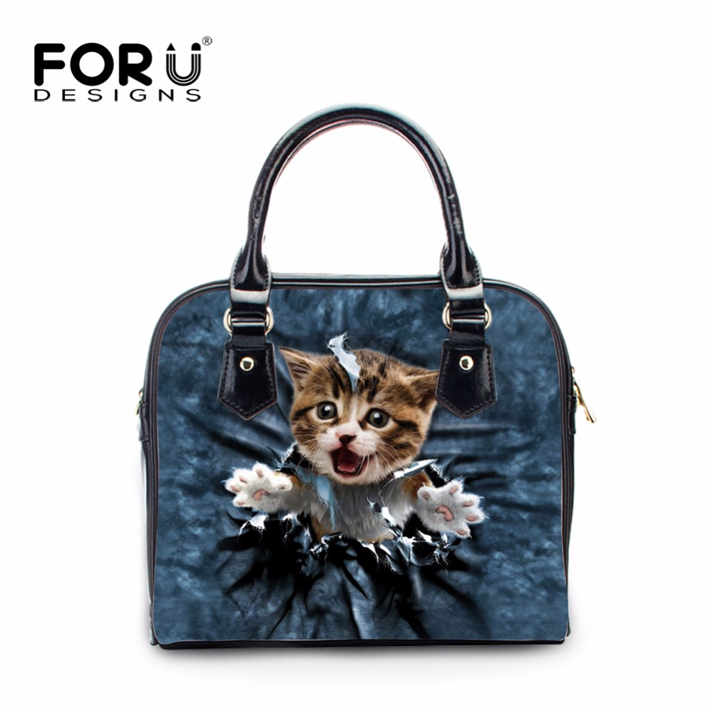 FORUDESIGNS 2017 Fashion Women Bag Cute 3D Cat Animal Woman Shoulder Cross-body Bags Feminine Bolsas Female Messenger Bags Mujer