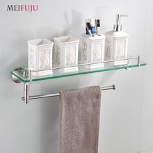 Bathroom Shelves Tempered Glass Shelf Stainless Steel Towel Bar Hanger Cosmetic Racks Storage Bathroom Accessories Wall Holder стоимость