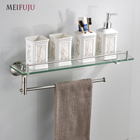 Bathroom Shelves Tempered Glass Shelf Stainless Steel Towel Bar Hanger Cosmetic Racks Storage Bathroom Accessories Wall Holder