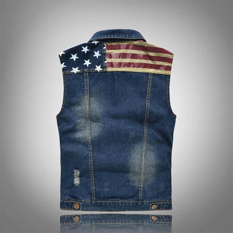 Laamei 2020 Geplooide Ontwerp Man Denim Vest Gat Gewassen Jeans Vest Mannen Plus Size 5XL Denim Vest Mannelijke Mouwloze Jassen
