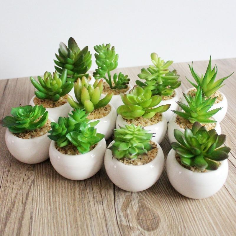 60pcs Decorative flower round pots mini succulent plant bonsai artificial plants with vase tropical cactus WA1762