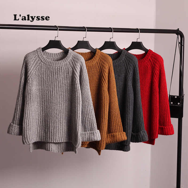 LALYSSE Autumn Loose Short Sweaters Women Knitwear Pullover Lady's Casual O-Neck Wide Sleeve Split Knit Jumper Cropped Sweater