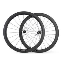 Ruedas de Carbono Ultra Light 50mm Clincher 23mm Ancho 700C Road Racing Wheelset de La Bicicleta 1470g