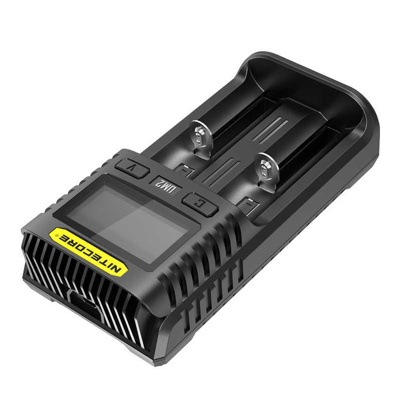 Nitecore UM2 USB ثنائي فتحة QC شاحن ذكي الدوائر العالمية التأمين ليثيوم أيون AA AAA 18650 14500 21700 شاحن بطارية