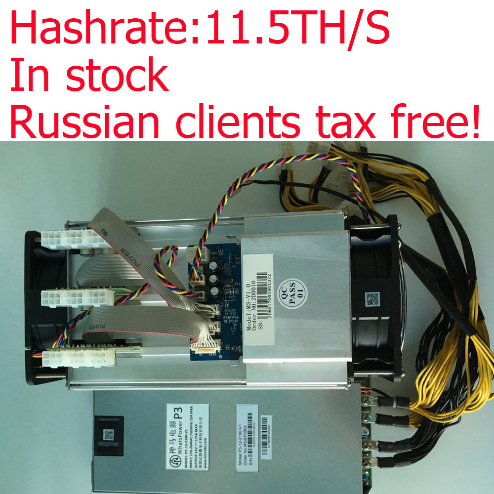 Russian clients free tax High efficiency miner Asic Bitcoin Miner WhatsMiner M3 11 5TH S PSU