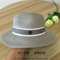 Doble cinta de color negro M doble estándar Sir sombrero de Paja femenino sombrero de verano elegante sombrero de playa sombreado sombreado de color gris claro