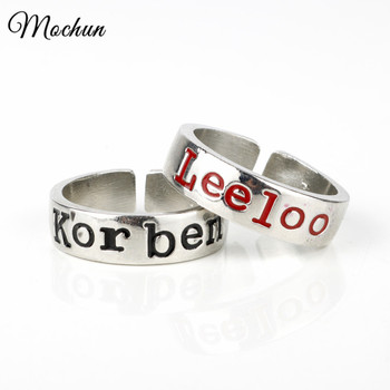 MQCHUN Korben Leeloo Hand Stamped Adjustable Rings Inspired Movie The Fifth Element Finger Opening Ring Friendship Wedding Gifts image