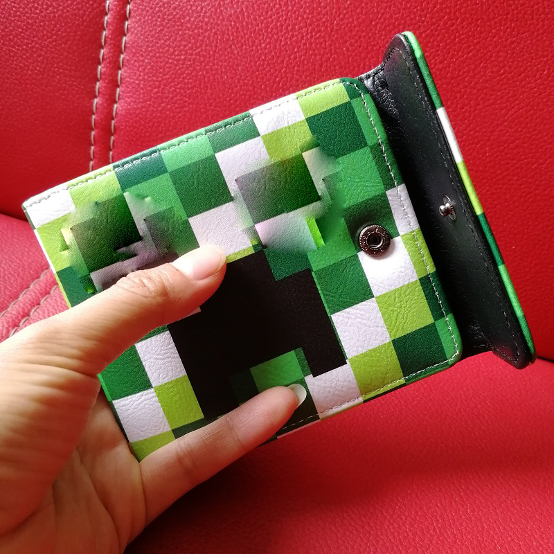 Hot MineCraft Pu Leather Purse Cartoon Short Wallets Green Purse Coin Bags Figure Toys My World Purse Card Bag Kids Gift Toys цена