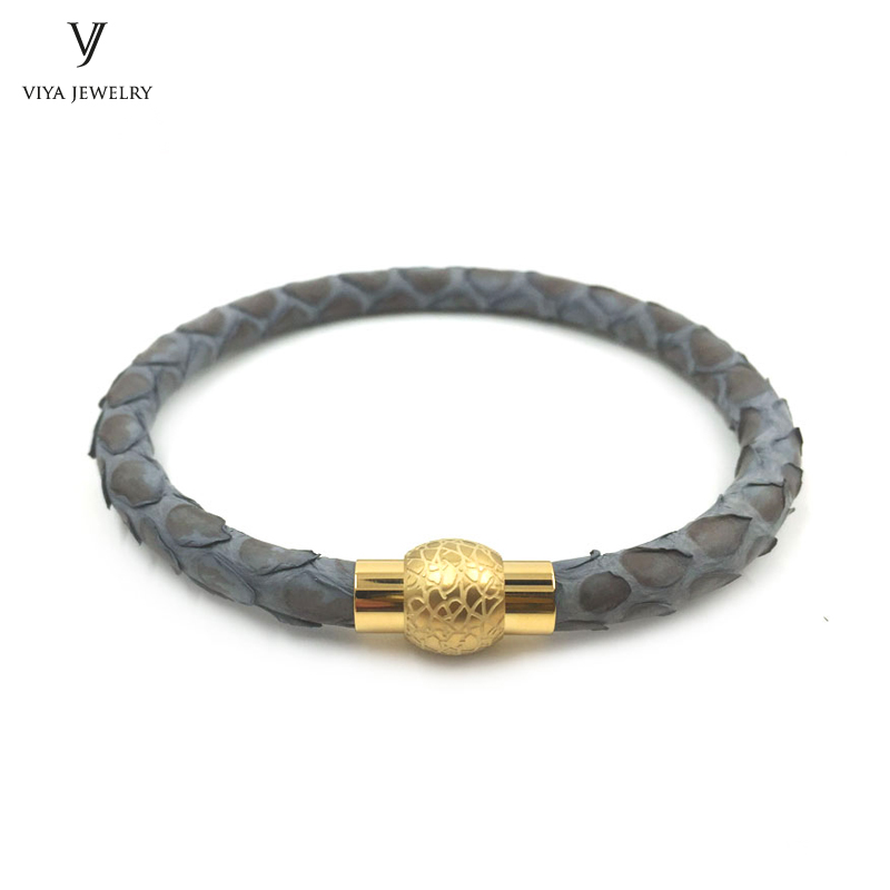 New Trendy Bracelet White Steel Magnet Buckle Bracelets & Bangles Genuine Python Leather Men Bracelet Collocation Watch trendy top white ceramic bracelet elegant star health care titanium bracelets