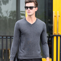 100% Cashmere New Men's Sweater Pullover V Neck Fashion Casual Basic Knit Tops for Autumn Winter 9027