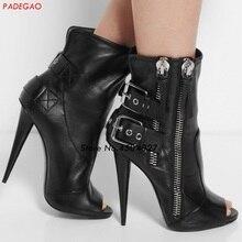 Women Sexy Ankle Boots Open Toe Stiletto Heel Pumps Buckle Straps Woman Short Bo