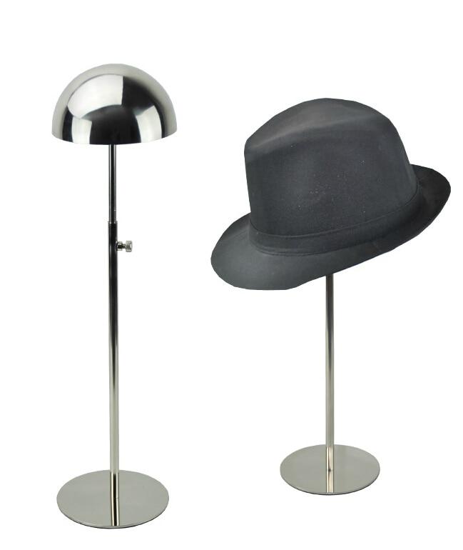Mirror Polish Metal Hat Display Rack Rounding Top Hat Cap Display Stand Rack Holder