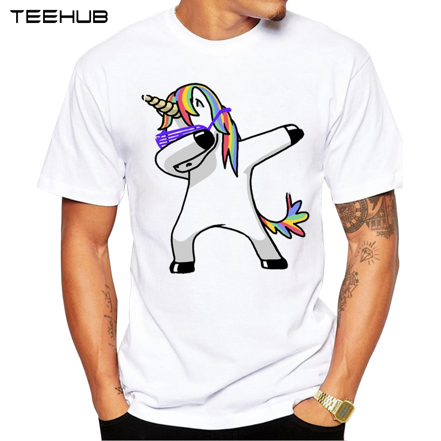 Summer T-Shirt Men Funny Unicorn Cat Zebra Panda Tops