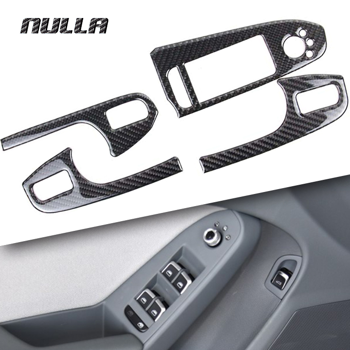 NULLA Carbon Fiber Car Interior Door Window Lift Glass Switch Buttons Cover Armrest Panel Frame Trim for Audi A4 B8 2009- 2016 areyourshop car window front door switch panel cover trim stickers for audi a4 b6 b7 2002 2007 car styling car covers detector