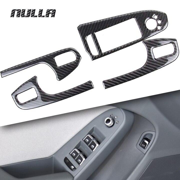 NULLA Carbon Fiber Car Interior Door Window Lift Glass Switch Buttons Cover Armrest Panel Frame Trim for Audi A4 B8 2009- 2016