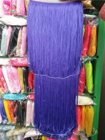 100CM Long Polyester Lace Tassel Fringe Lace Trim Ribbon Sew Latin Dress Stage Garment Curtain DIY Accessories purple