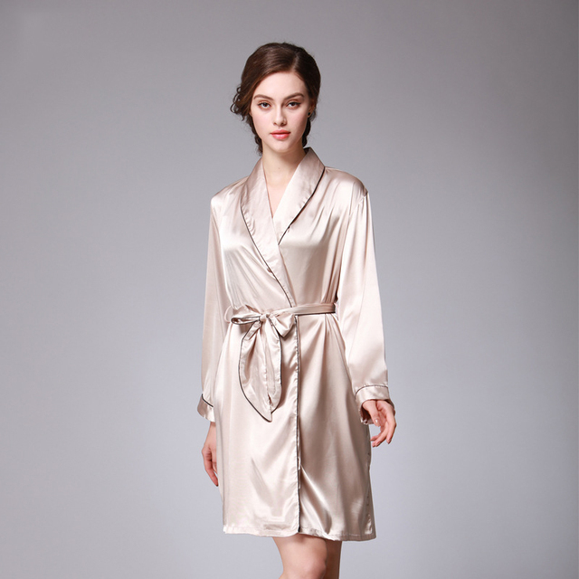 455d251cc6 Hot Sale 2017 New Silk Bathrobe Pyjamas Women Spring Autumn Luxury Solid Satin  Sleepwear Long Sleeve Ladies Elegant Sleep Robe