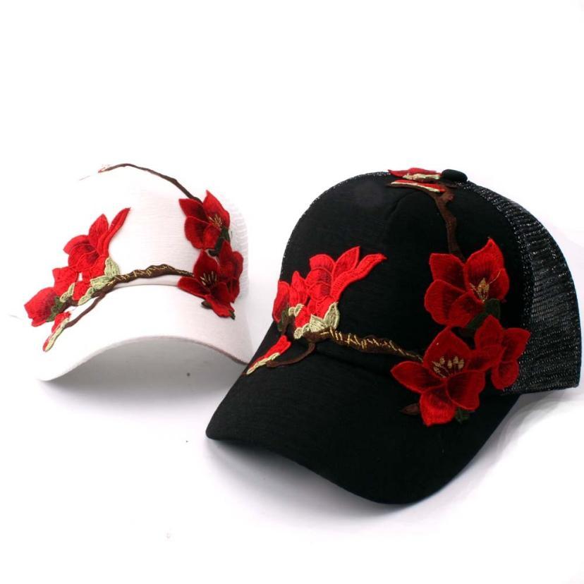 Ehrgeizig Frauen Outdoor Baseball Tennis Kappe Sommer Sonnenschirm Applique Atmungs Floral Hip Hop Hüte Dropshipping 0816
