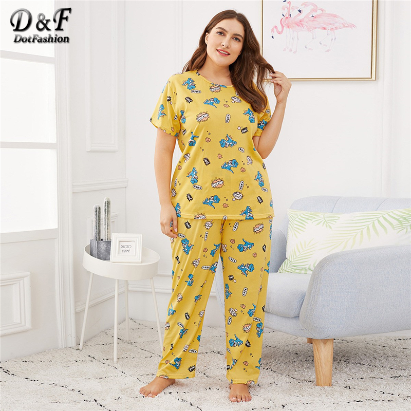 Detail Feedback Questions about DotfashionPlusDinosaur   Letter Print Pajama  With Robe Spring Fall Ladies Spaghetti Round Neck Long Sleeve Belted  Nightwear ... f7ea94048