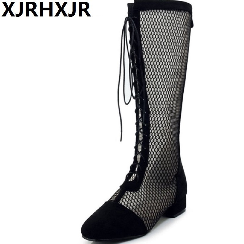 Lace Low Heel Knee High Knight Sandals Boots 2018 New Open The Toe Cut Out Cross Tied Women Summer Long Boots Plus Size 33-46