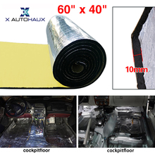 X AUTOHAUX 10mm 394mil 16.36sqft 152cm x 100cm 60″ x 40″ Aluminum Foil Cotton Car Muffler Heat Sound Deadener Insulation Mat