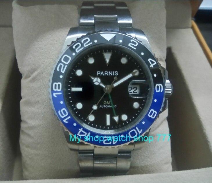 40MM PARNIS GMT Automatic Self-Wind movement blue&black Ceramic bezel Sapphire Crystal luminous men's watch gn02 GDDF55 40mm parnis sapphire glass red gmt hand ceramic bezel automatic watch