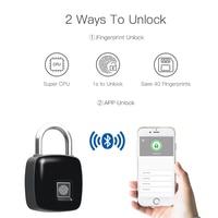 Waterproof Smart Fingerprint Padlock Lock with Finger Print Security Touch Keyless Lock