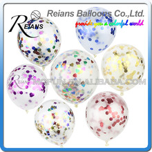 50pcs/lot Confetti Balloons 12 Inch Transparent Latex Balloons with Gold Silver Confetti for Wedding Party Birthday Decorations(China)