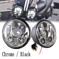 2pcs Black Chrome 5 75 Headlight Motorcycle 5 3 4 Led Headlight For Harley Motorcycle Projector
