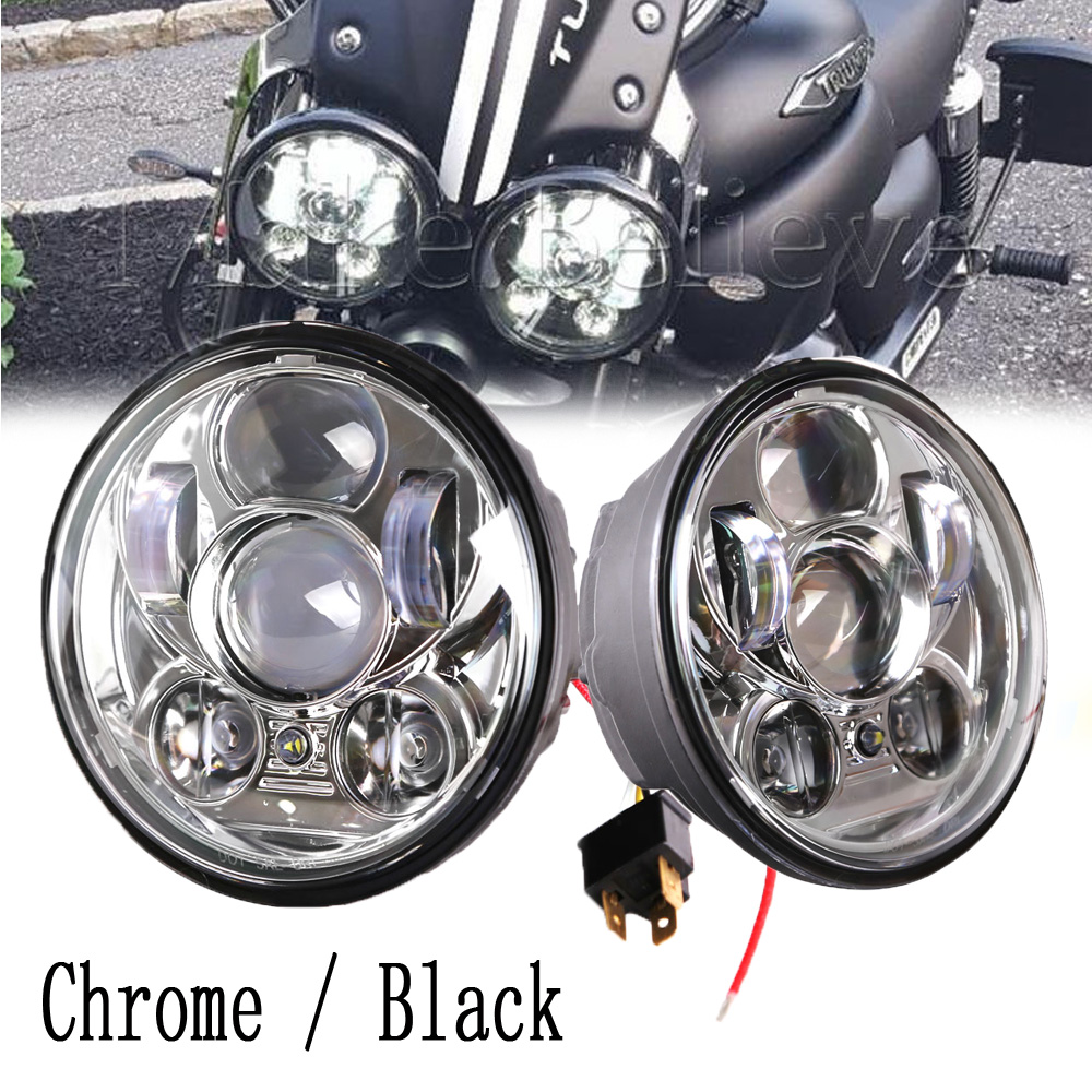 "2pcs Black Chrome 5.75"" headlight motorcycle 5 3/4"" led headlight for Harley Motorcycle Projector Daymaker Motos Accessories"